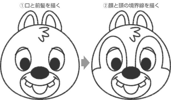 デールの口・前髪・顔の境界線の描き方