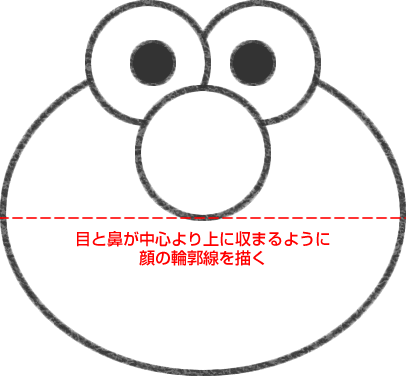 エルモの顔の輪郭線を描く