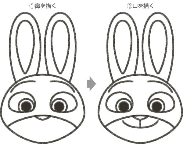 ジュディ・ホップスの鼻・口の描き方