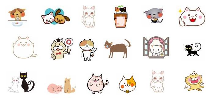 可愛いネコの無料ベクターイラスト(ai/eps)素材