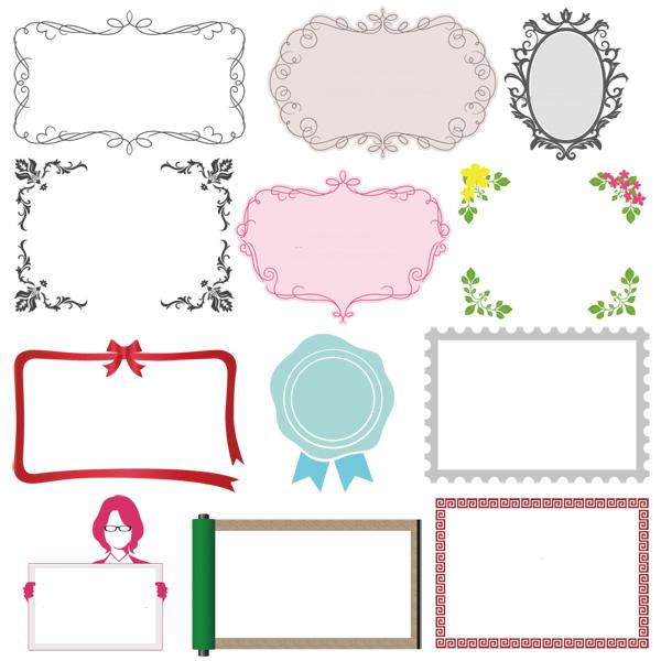 様々なデザインの飾り枠・飾り罫