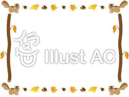 リスや栗、どんぐりなどのイラストがかわいい秋の飾り枠