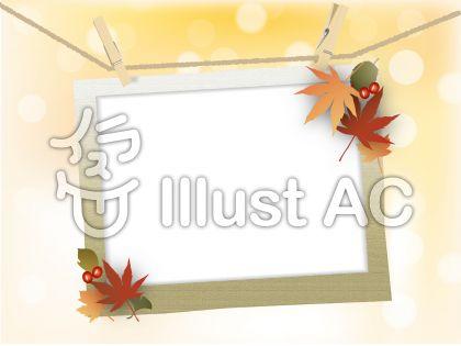 ナチュラルアンティーク系のデザインに合いそうなフォトフレーム風の秋の飾り枠
