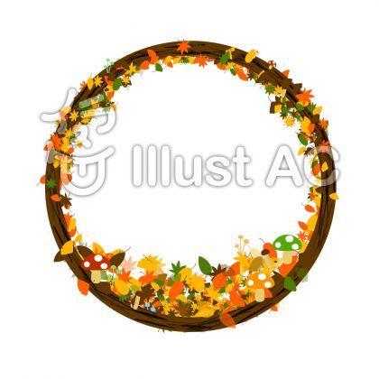 もみじやイチョウ、落ち葉、きのこで飾ったリース風の丸型フレーム飾り枠