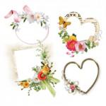 植物(花/葉/木)とフレーム(額縁/飾り枠)をコラージュしたナチュラル系フリーイラスト無料素材