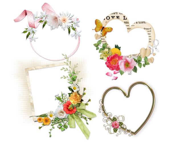 ハート型のフレームやリボン・蝶(チョウ)・花などのコラージュがラブリーな飾り枠