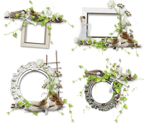 古びたフレームに小鳥の巣とつる植物をコラージュしたアンティーク系の飾り枠