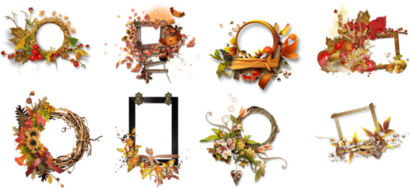 紅葉した葉や花、木の実をコラージュした秋の季節におすすめの飾り枠