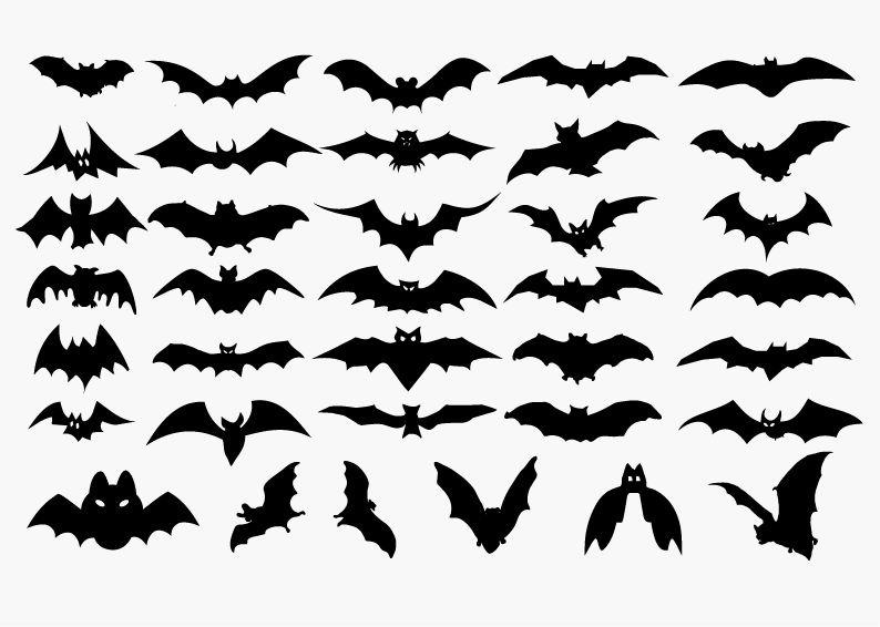 コウモリのハロウィンシルエットイラスト素材