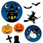 ハロウィン(かぼちゃ/魔女/お化け/コウモリ)の無料イラストフリー素材