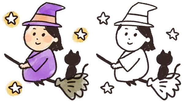 ほうきに乗って魔女(魔法使い)と黒猫が夜空を飛んでいるイラスト