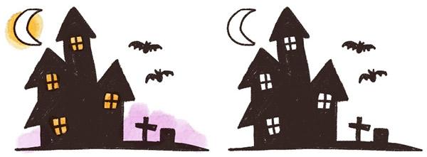 夜のお化け屋敷(洋館)のイラスト
