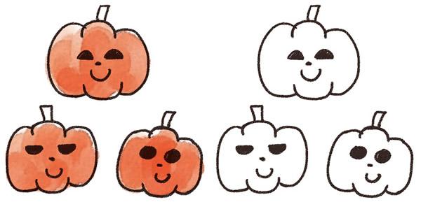 かぼちゃ魔女黒猫お化け屋敷ハロウィン手書き手描きイラスト無料素材