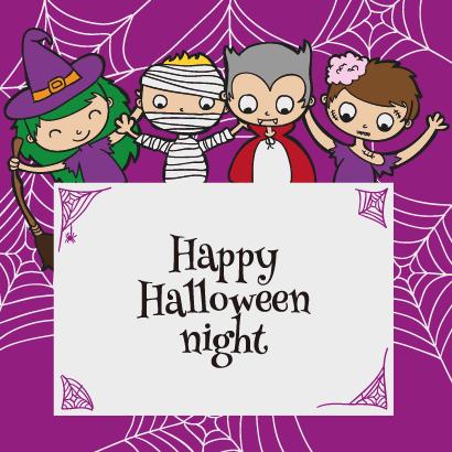 ハロウィンの仮装をした子供たちのフレーム飾り背景イラスト