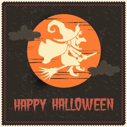 月夜に飛んだ魔女のハロウィン背景イラスト