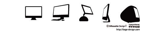 アップルのディスクトップマックのシルエットイラスト素材