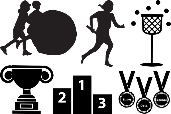 表彰台や順位メダル、大玉転がし、リレーなどシルエットイラスト素材