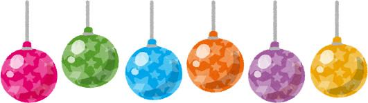 カラフルな星柄クリスマスオーナメントのイラスト