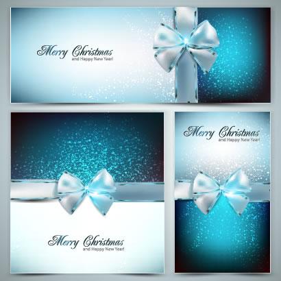 きらめくブルーの背景が綺麗なリボン付きクリスマスギフト風フレーム