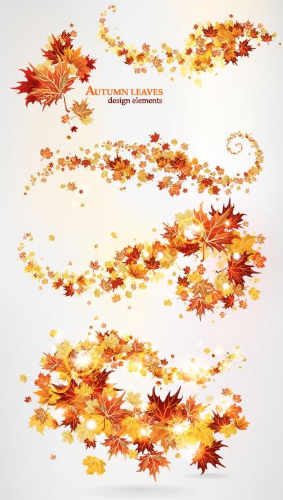 曲線が美しいモミジ舞う秋の飾り罫線イラスト素材