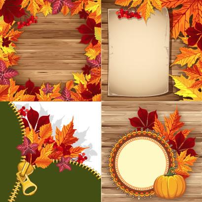 木版の背景やジッパーに紅葉した落ち葉で飾り付けをしたフレーム飾り枠