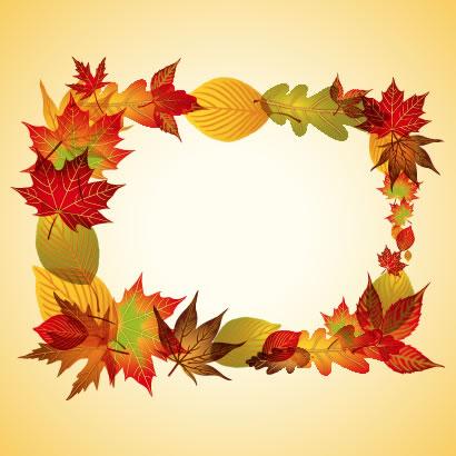 紅葉した落ち葉でコラージュされた秋のフレーム飾り枠