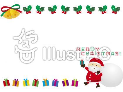 サンタとベル、ヒイラギ、プレゼントの見出し飾り枠フレーム