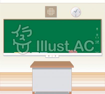 教壇や教卓、スピーカー、時計など、学校の教室の黒板まわりのイラスト