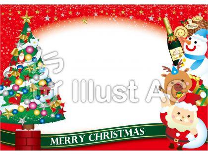 クリスマスツリーとかわいいサンタ・トナカイ・スノーマンのグリーティングカード