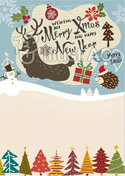 12月冬のイラスト素材クリスマス用グリーティングカードメッセージ