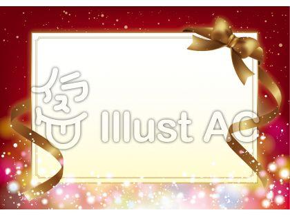 キラキラ輝く背景と金のリボンが美しいクリスマスカード