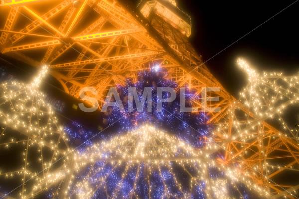 ぼかしがかかった東京タワーのイルミネーションイメージ