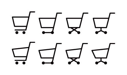 シンプルでベーシックなショッピングカートのシルエットイラスト素材