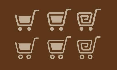 丸みのある形がオシャレなお買い物かごのシルエットアイコン素材