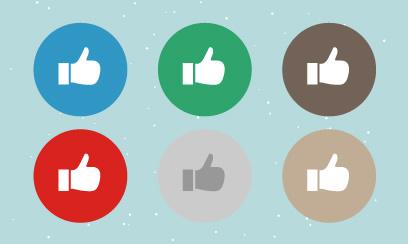 丸みのある形が可愛いポップなFacebookボタン