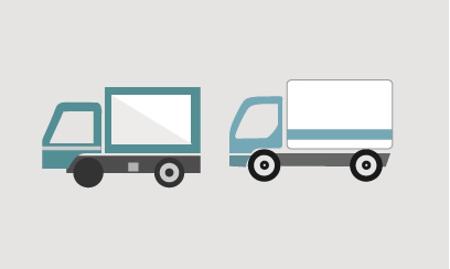 リアル系フラットイラストの運送トラック素材