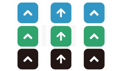シンプルなデザインの「トップに戻るボタン」シルエットアイコン素材