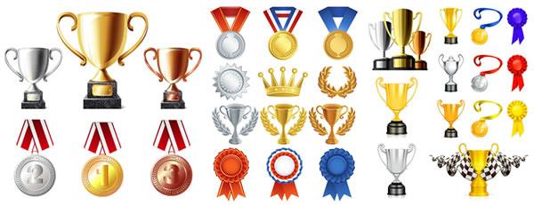 金銀銅のトロフィー・受賞メダルイラスト素材