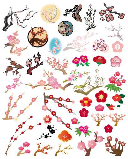 梅の木・梅の花の無料ベクターイラスト素材