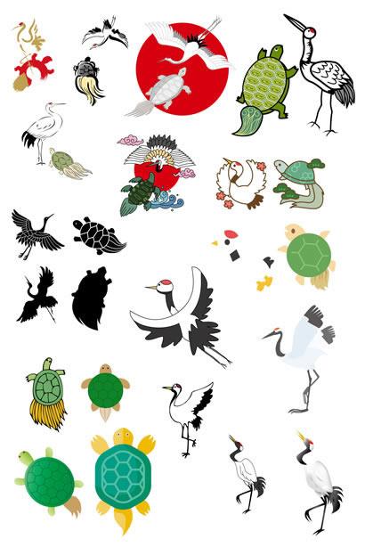 鶴と亀のの無料ベクターイラスト素材