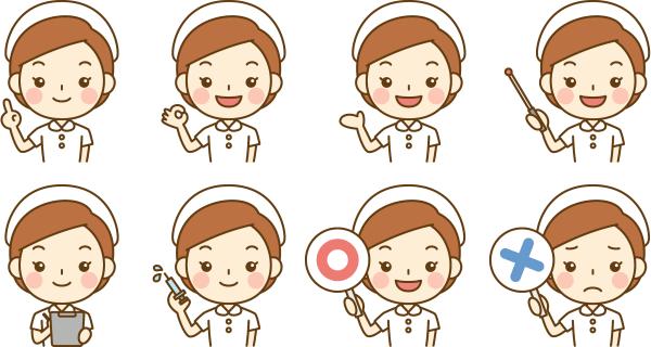 看護師看護婦ナースのかわいいイラスト無料フリー素材
