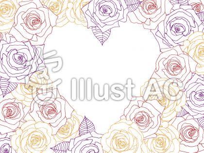 薔薇(バラ)のイラストが大人カワイイハートのシルエット背景イラスト