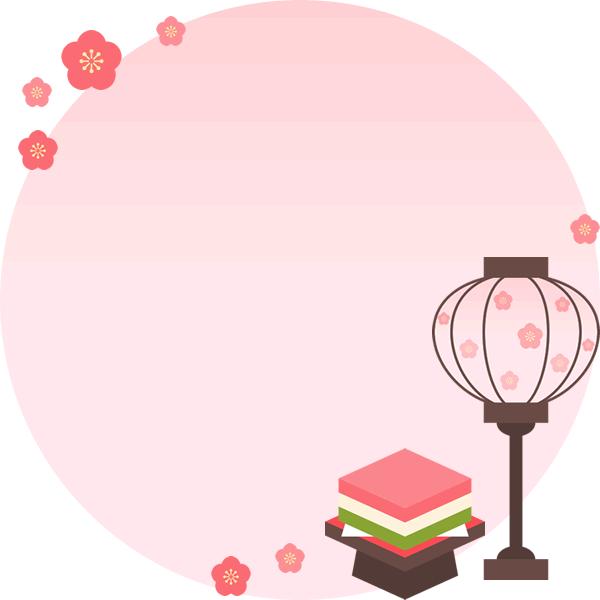 ぼんぼりと菱餅の丸型フレーム枠イラスト