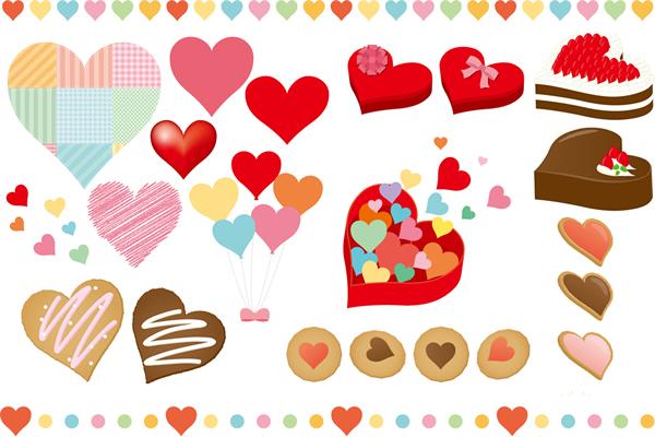 ポップでカラフルなハートマークのアイコンパーツやお菓子イラスト素材セット