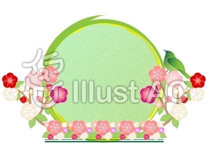 鶯(うぐいす)と桃の花の丸型(円形)フレーム飾り枠