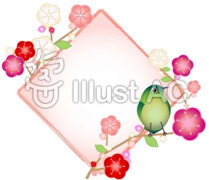 鶯(ウグイス)と桃の花の菱形フレーム飾り枠イラスト