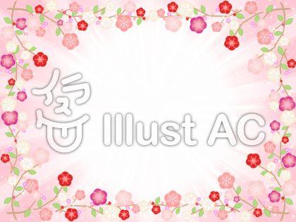 モモの花で囲った背景フレーム飾り枠