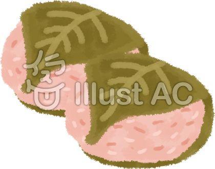 桜餅(さくらもち)の和風イラスト無料素材