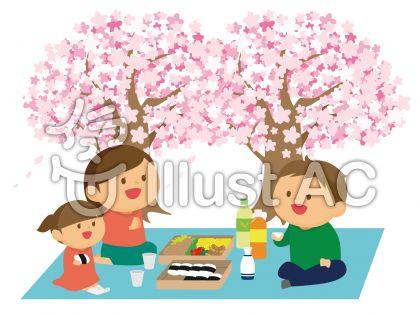 さくらの木の下でお弁当を食べる親子のかわいい絵