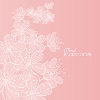 ガーリーテイストな可愛い桜の花の背景イラスト無料ベクター素材